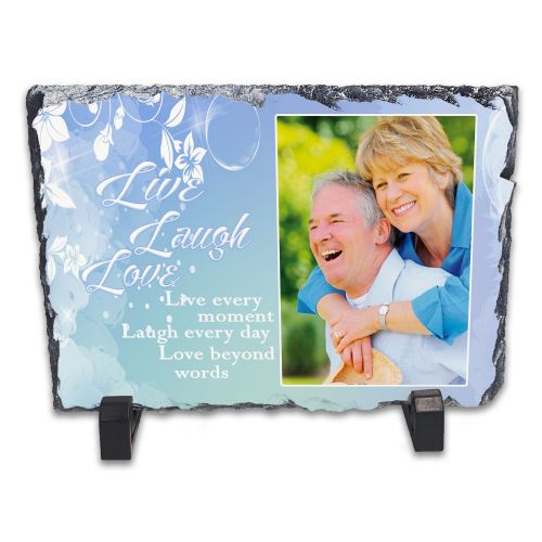 Personalised Live Laugh Love Rock Slate Photo Frame - Rectangle